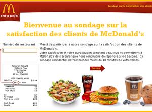 Mc Do Canada lance une vaste enquête de satisfaction client.