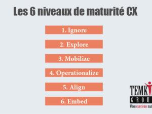 Les 6 niveaux de maturité de l'entreprise en expérience client (étude Temkin group)